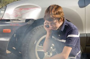 Car accident teen making phone call